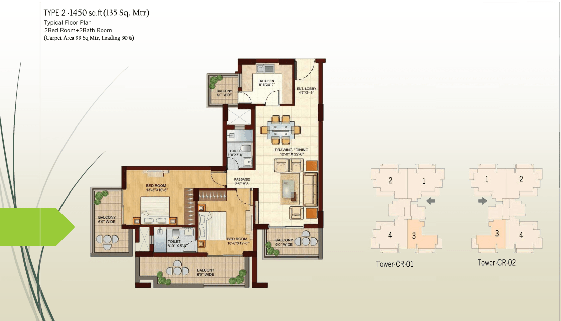 2 BHK - 1450 Sq.Ft.