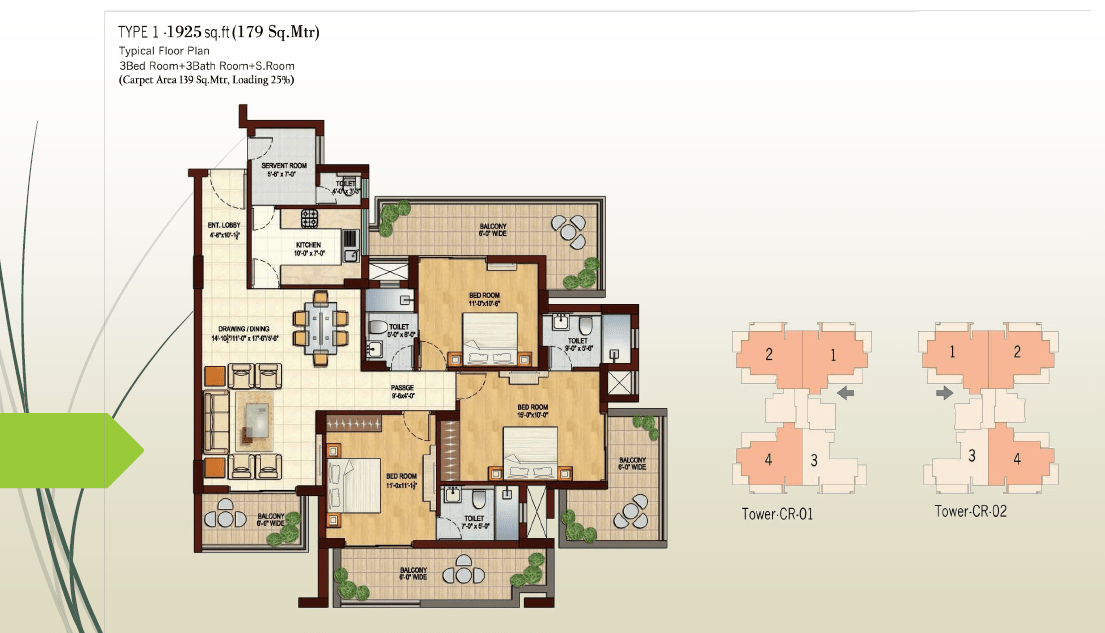3 BHK - 1925 Sq.Ft.